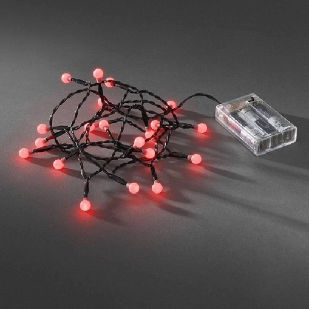 LED Globe-Lichterkette 20er Batterie 3xAA Timer innen rot 1491-557