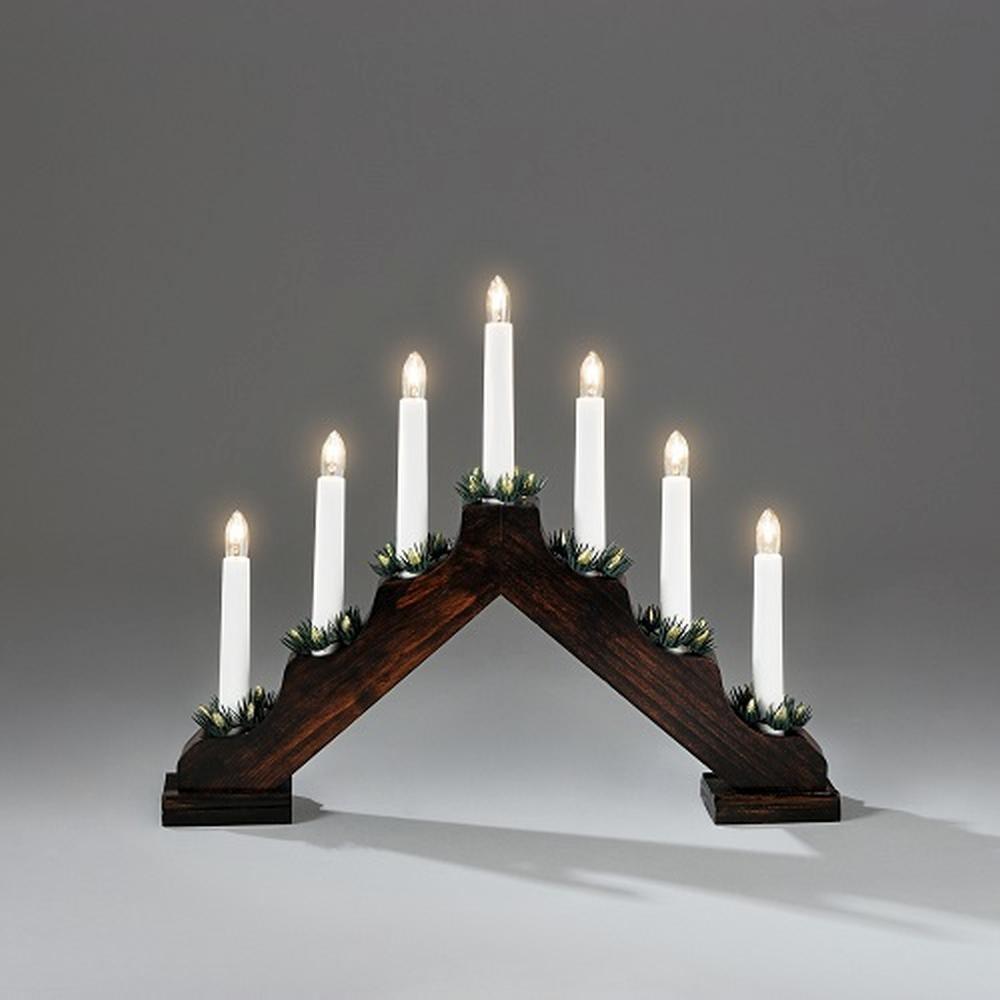 Holzleuchter braun gebeizt 31 x 38 cm Lichterbogen 7 flammig innen 2262-600