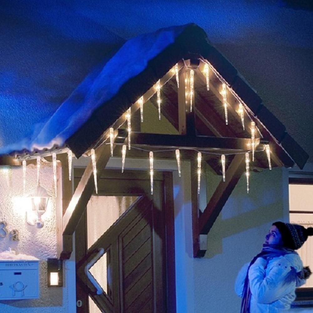 LED Eiszapfen Lichterkette 32 Zapfen kaltweiß außen Konstsmide 2736-202