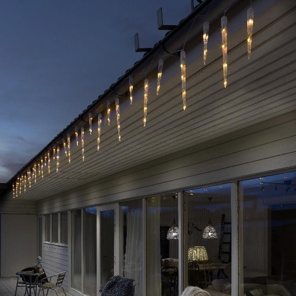led eiszapfen lichterkette 32 zapfen amber. Black Bedroom Furniture Sets. Home Design Ideas