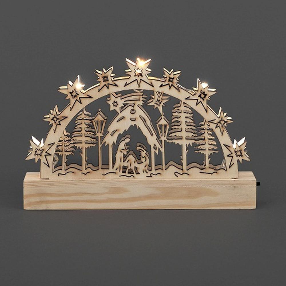 LED Holzsilhouette Leuchter Krippe natur 23x15cm Konstsmide innen 2842-100