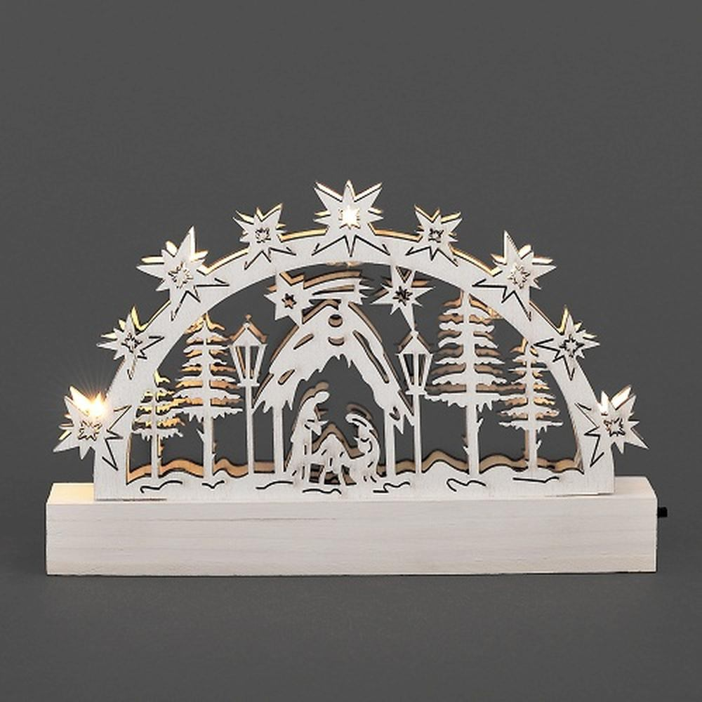 LED Holzsilhouette Leuchter Krippe weiß 23x15cm Konstsmide innen 2842-210