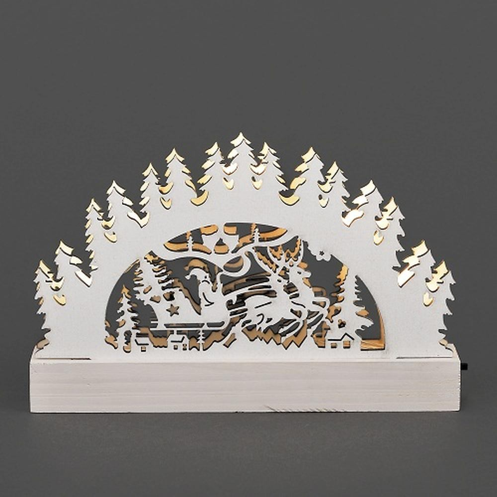 LED Holzsilhouette Leuchter Santa weiß 23x15cm innen Konstsmide 2843-210