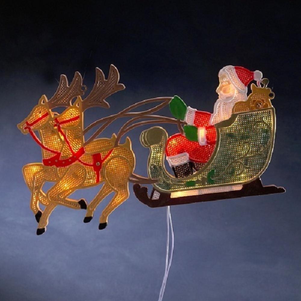 LED Fenstersilhouette Rentier Weihnachtsman Schlitten Konstsmide 2853-010