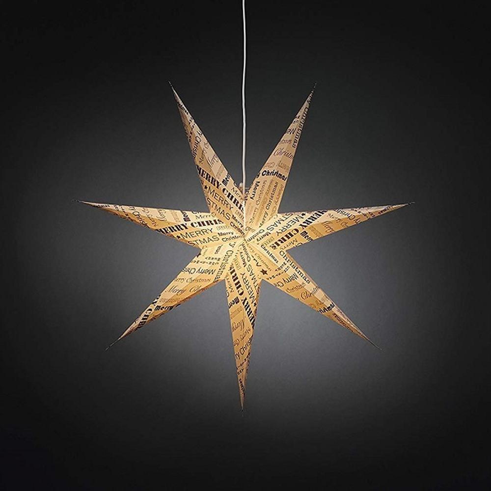 Weihnachtsstern 78cm weiß Muster kupferfarben Kabel-Schalter innen 2985-270