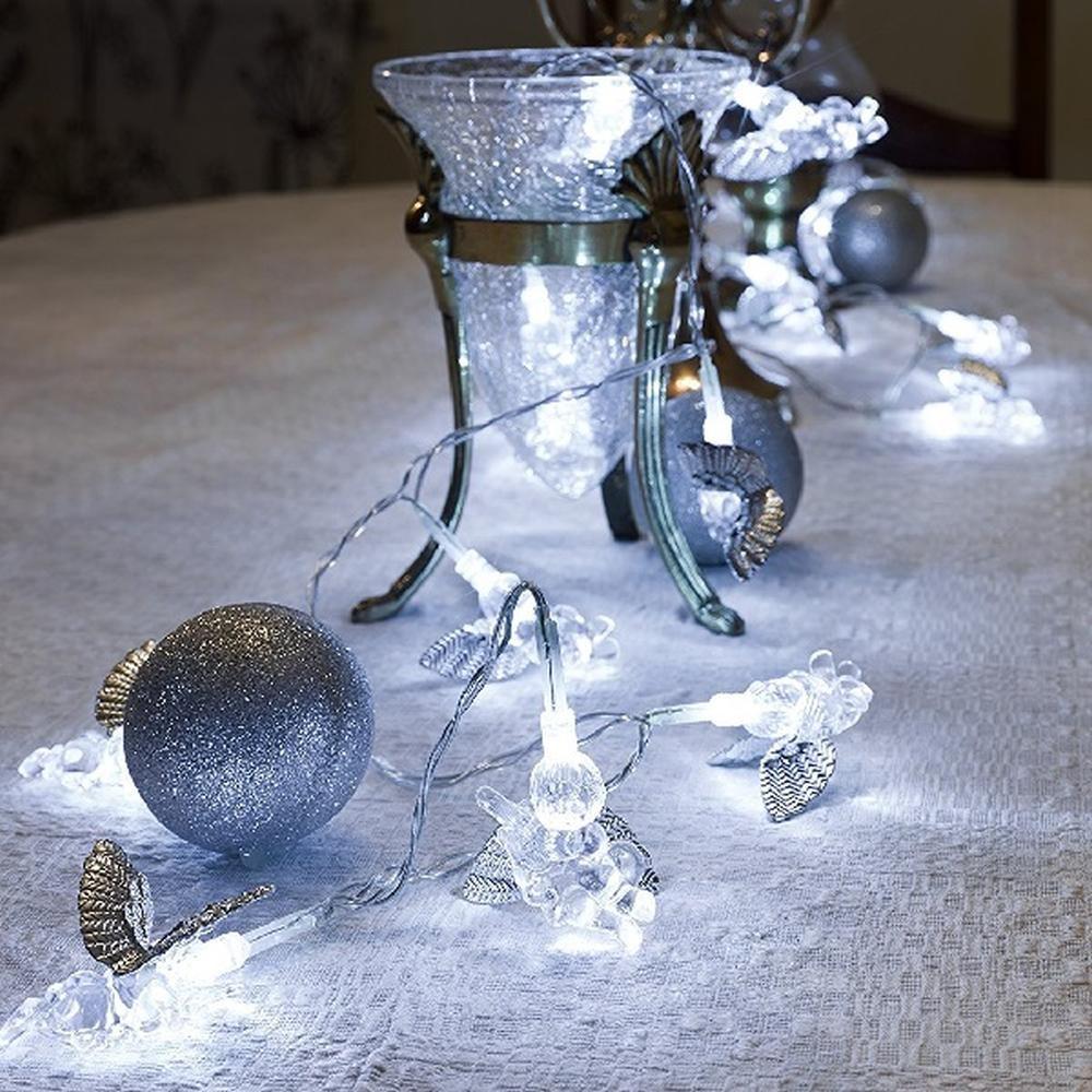 LED Deko Lichterkette silberne Engel 24er kaltweiß innen Konstsmide 3149-303