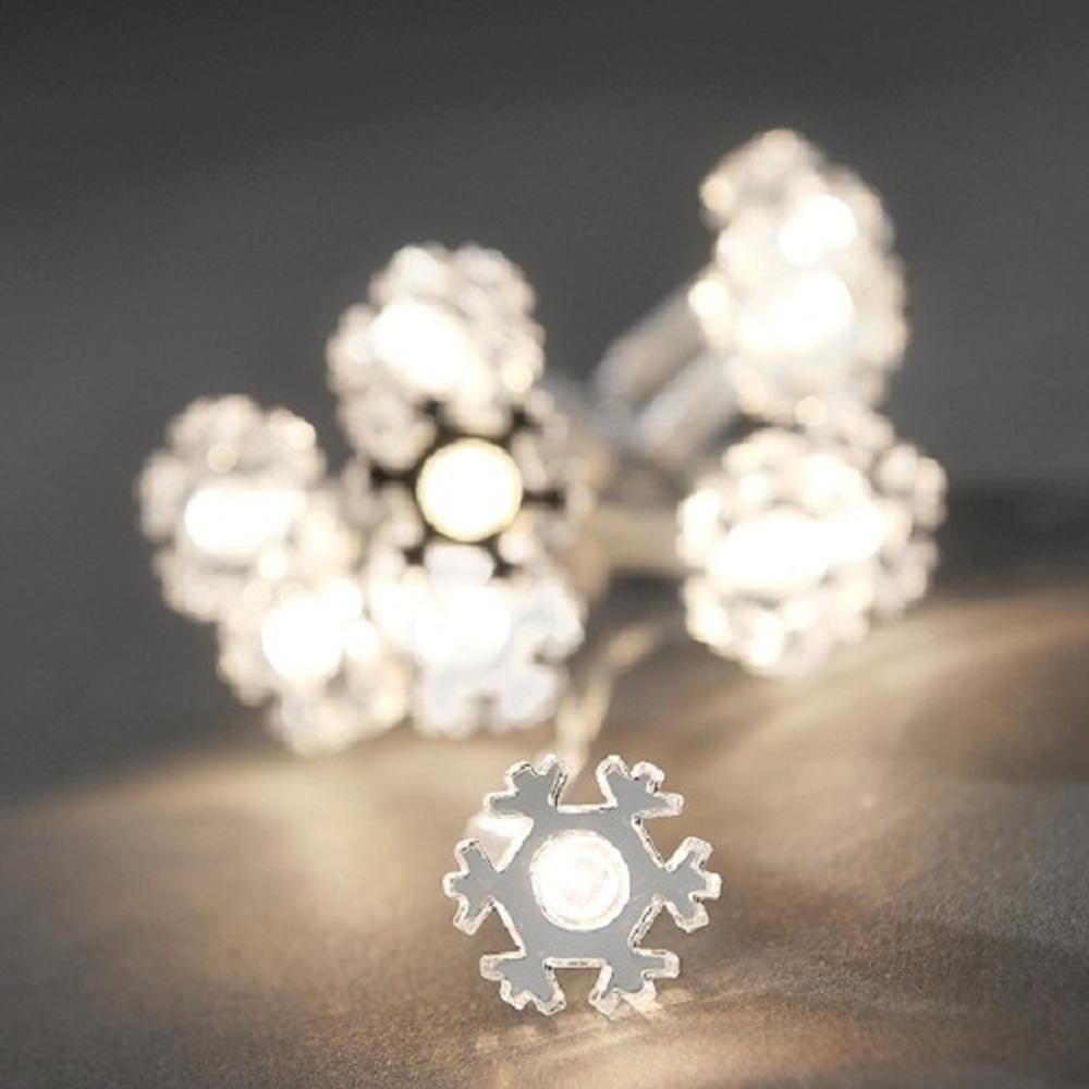 LED Deko Lichterkette 10er Schneeflocke warmweiß innen 3185-103