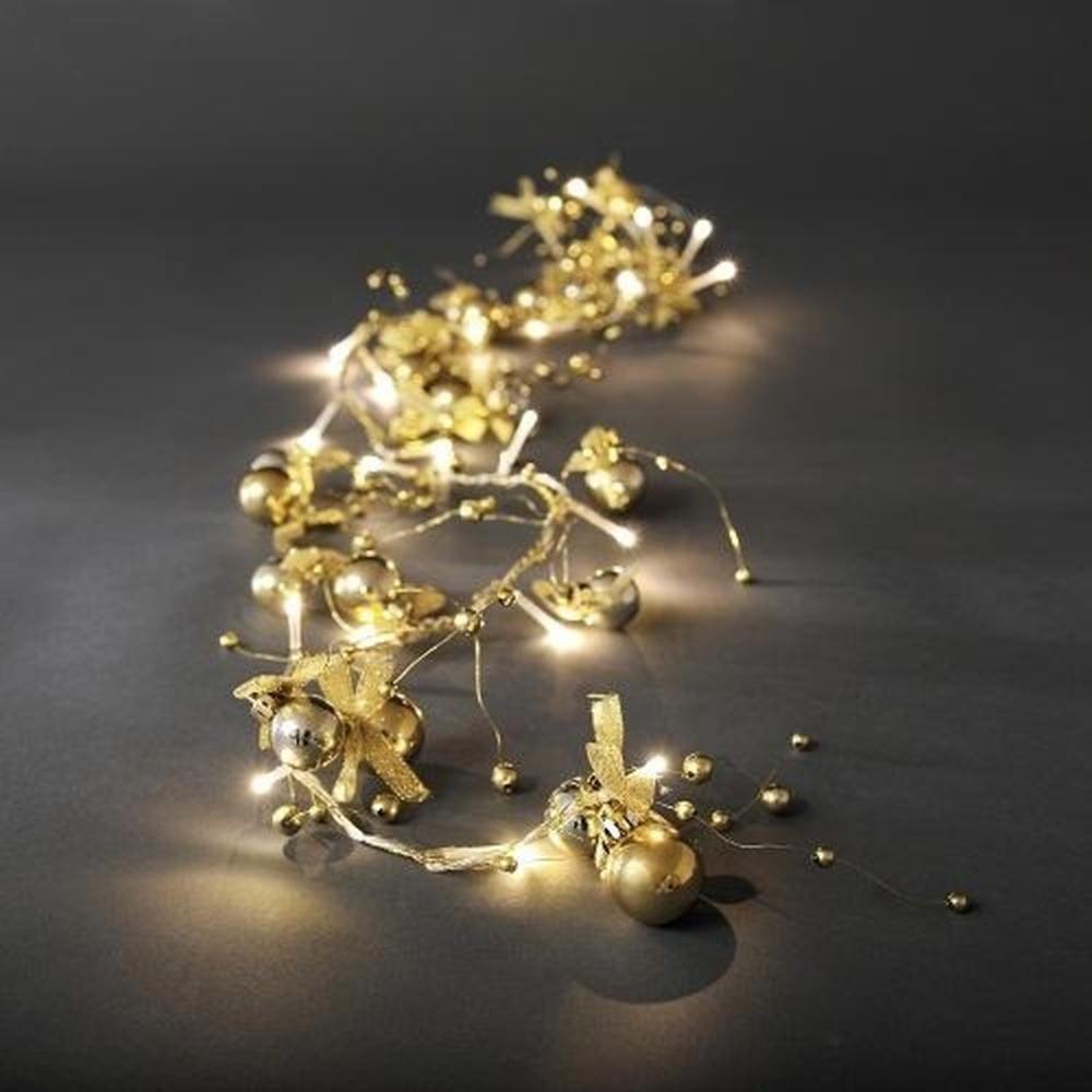 LED Deko Lichterkette gold Kugeln 20er warmweiß innen Konstsmide 3190-803
