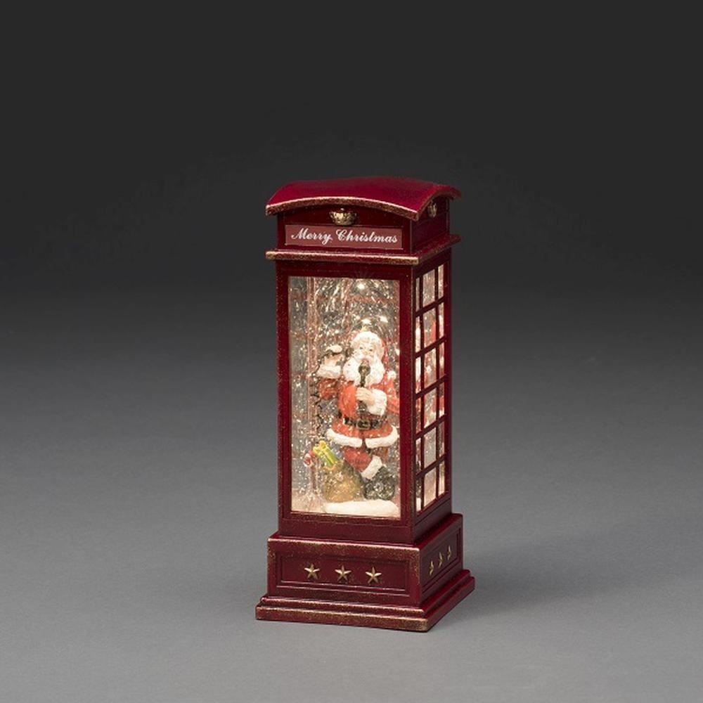 LED Telefonzelle mit Weihnachtsmann wassergefüllt Timer Konstsmide 4363-550