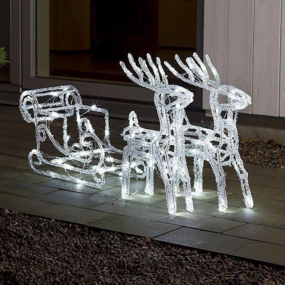 LED Acryl Rentiergespann mit Schlitten 70x42cm 96 Dioden Konstsmide 6192-203