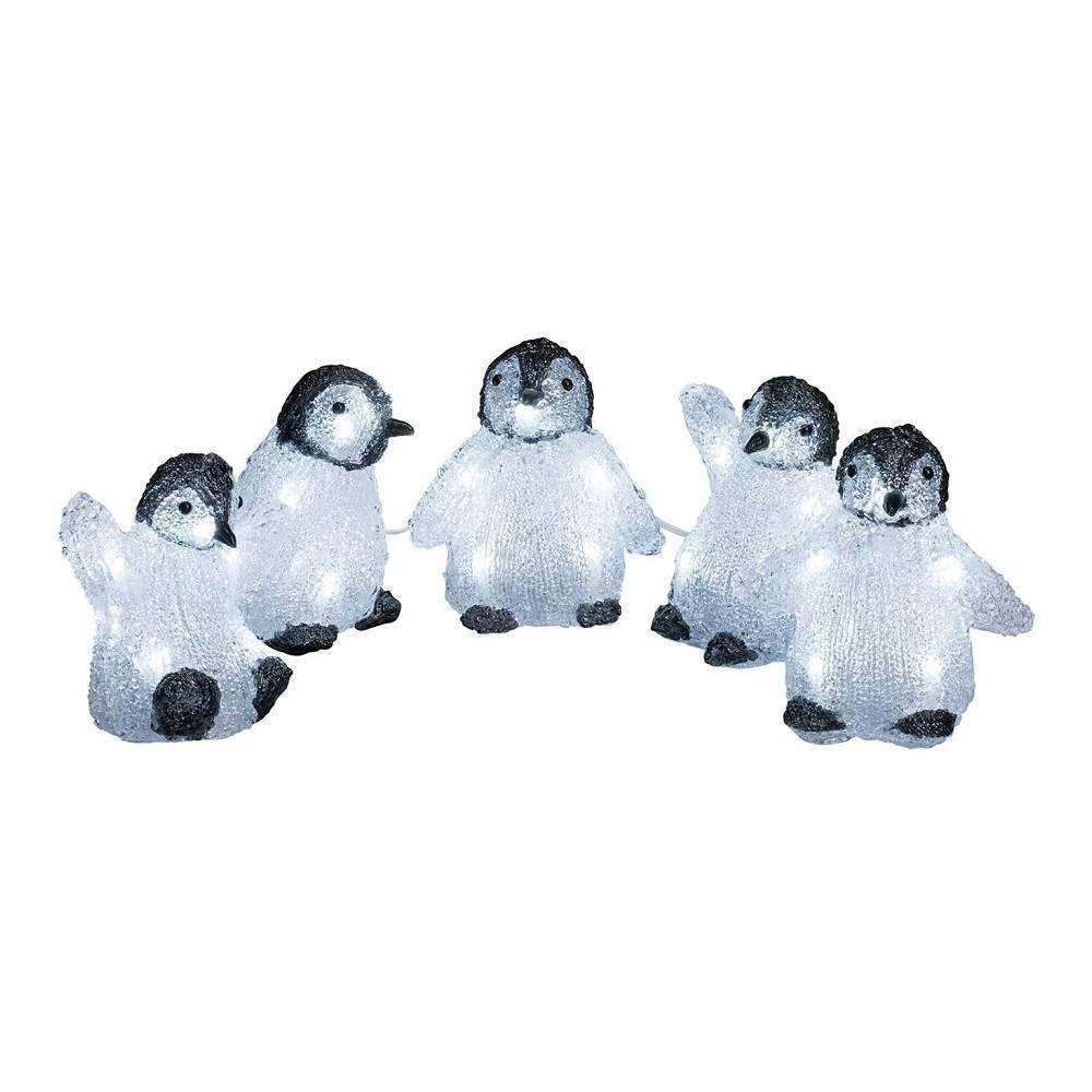 LED Acryl 5er Babypinguine 11x10cm kaltweiß außen Konstsmide 6266-203