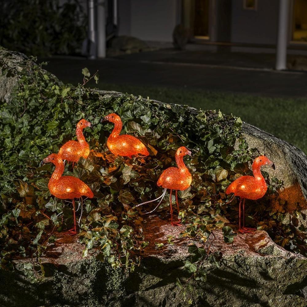 LED Acryl Flamingos 5er-Set 5x8 Dioden bernsteinfarben außen 12,5cm 6267-803