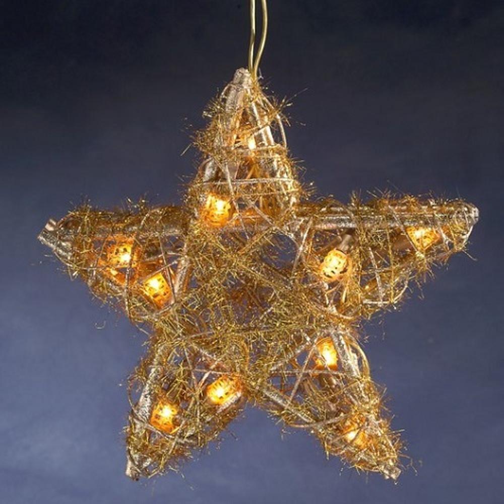 Rattan-Stern gold 30 cm   10 klare Lampen