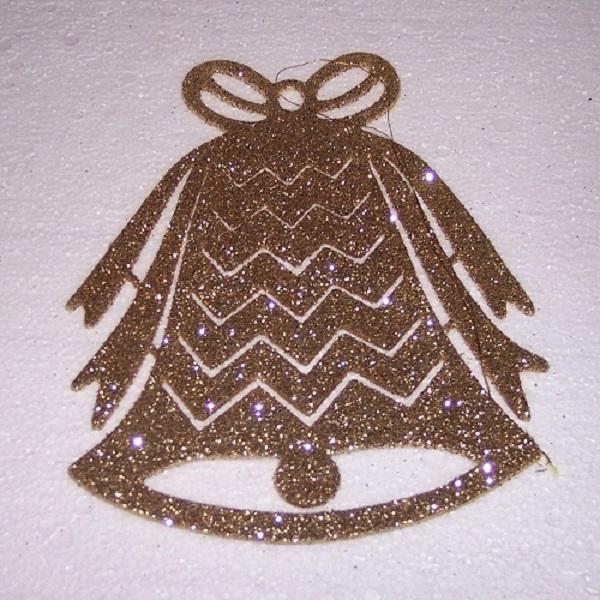 Weihnachten Fensterdekoration Fensterbild Glocke gold innen 25cm