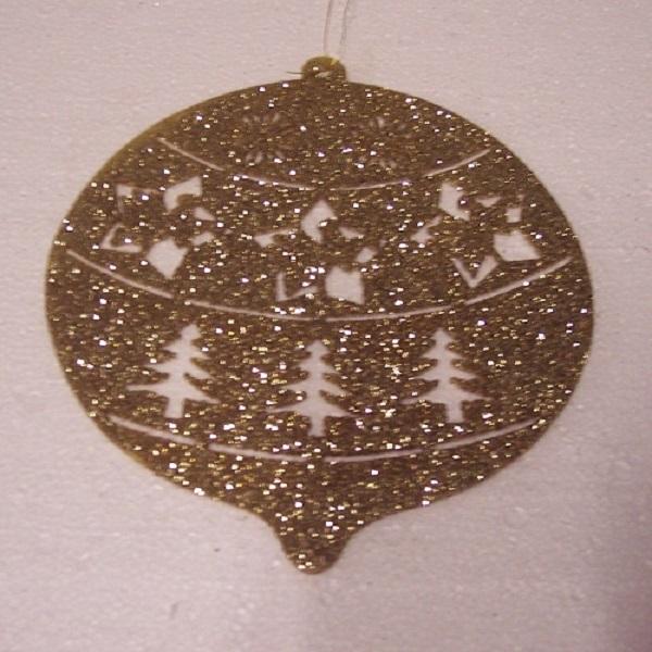Weihnachten Fensterdekoration Fensterbild Kugel gold innen 25cm