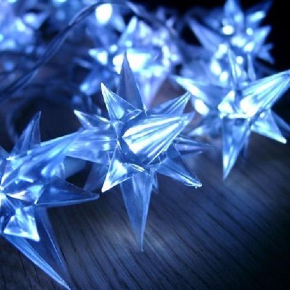 LED Sternen-Lichterkette blau 40er 3,9m Transparentes Kabel BA11422