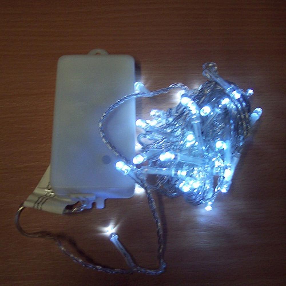 50er LED Lichterkette 4,9m kaltweiß Batterie / Timer außen BA11463
