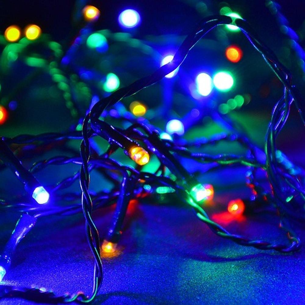 LED Lichterkette 40er bunt Kabel grün 3,9m aussen BA11682