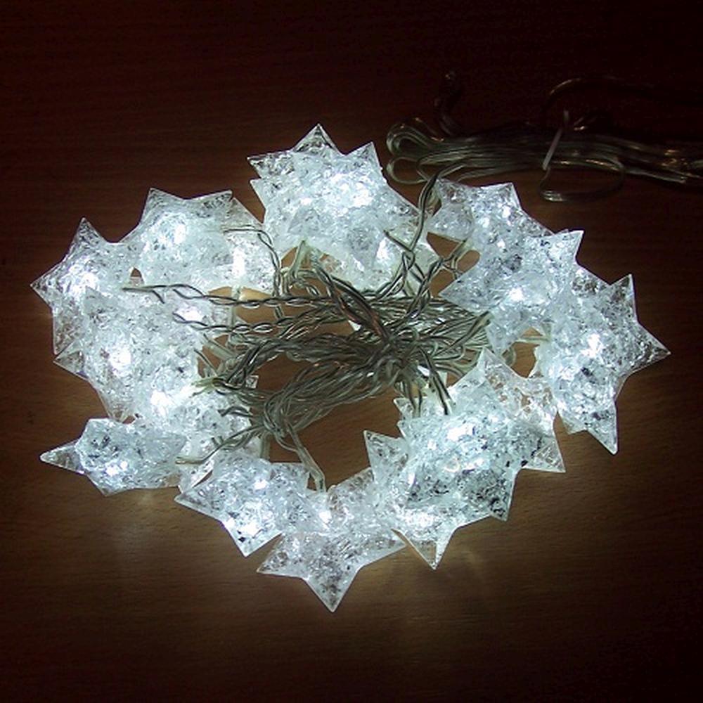 24er LED Lichterkette Sterne gefrostet weiß BI11517