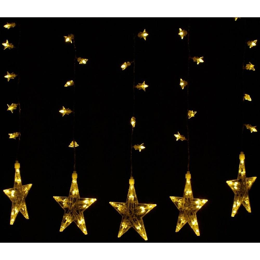 100er LED Lichtervorhang 5 / 25 Sterne warmweiß 60x55cm innen BI11524