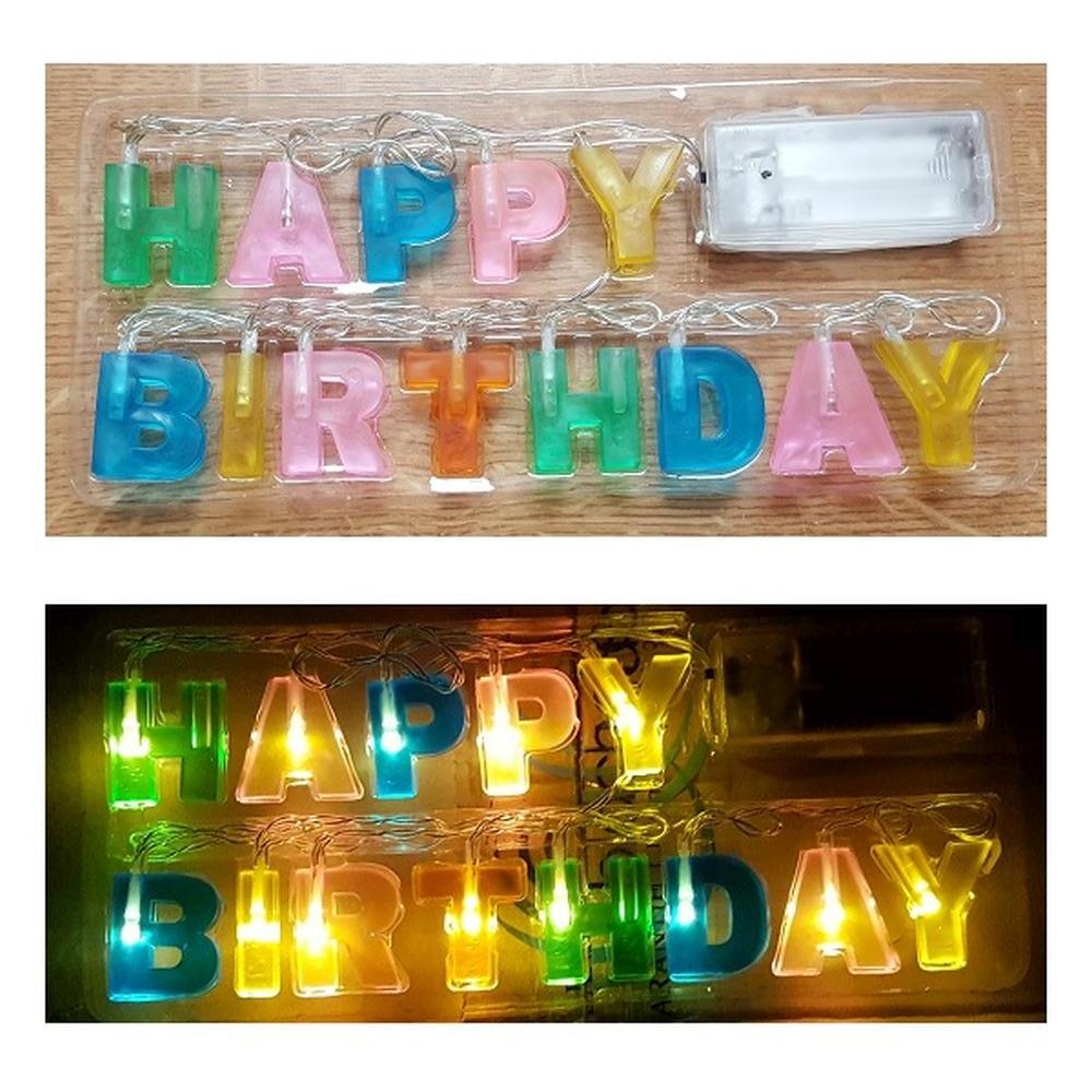 Deko Led Lichterkette Happy Birthday Geburtstag Party Batterie Innen