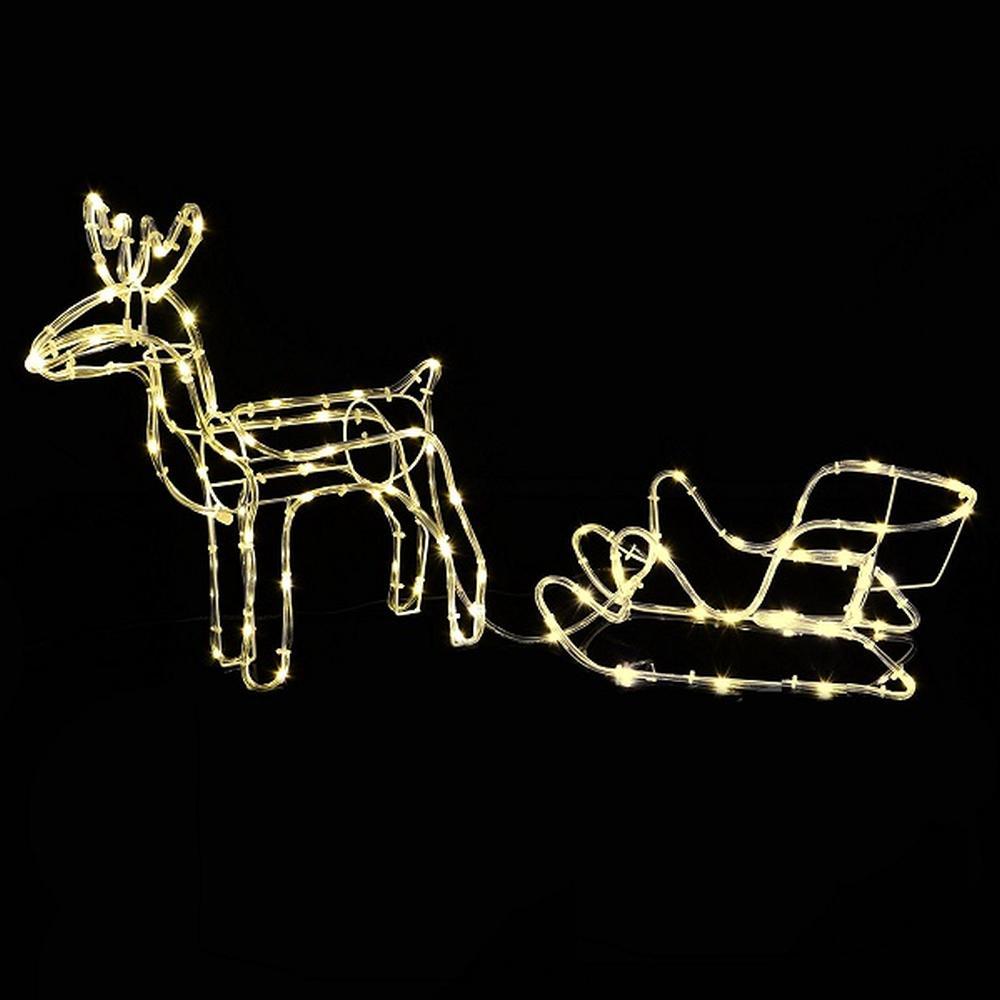 Weihnachtsbeleuchtung Außen Schlitten.3d Led Lichtschlauch Silhouette Rentier Schlitten Timer Aussen Xa10977 Xmas