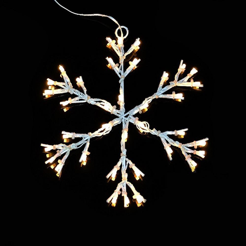 LED Schneeflocke Schneeoptik 36er warmweiß 30cm Timer außen XA11276 xmas