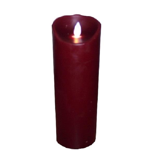 SOMPEX 35202 Flame LED - Echtwachs Kerze bordeaux 8x23cm