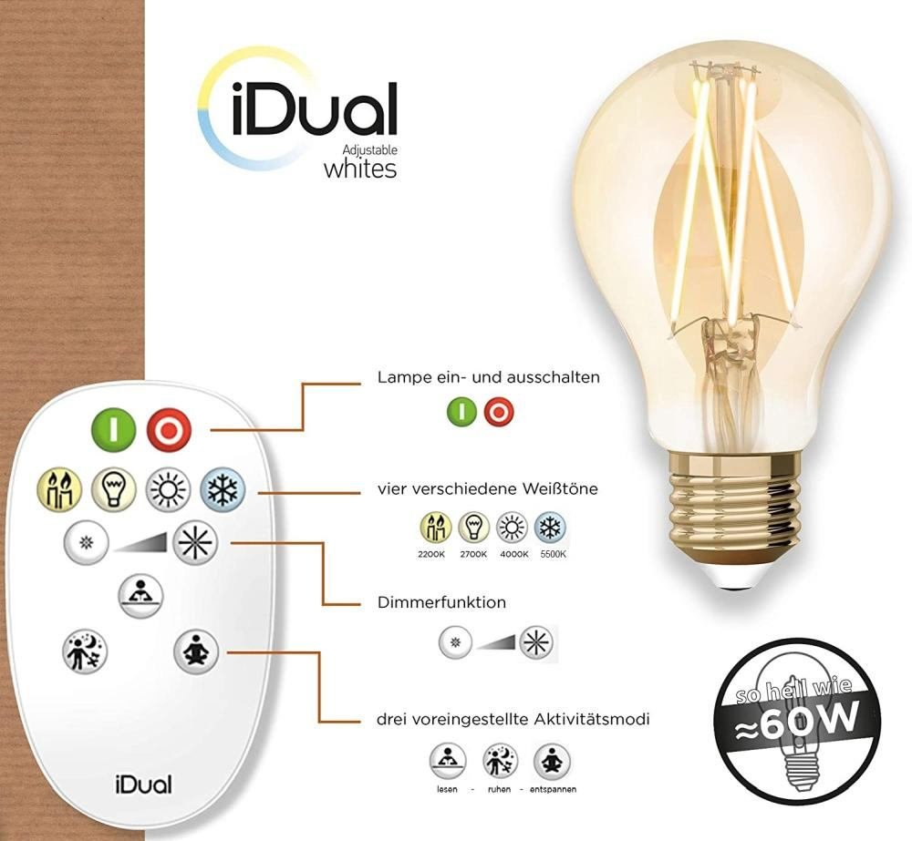 iDual LED Leuchtmittel Filament E27 A60 amber dimmbar 806lm 9W inkl. FB